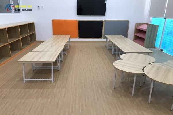 Lắp đặt sàn nhựa hèm khóa cao cấp cho trường mầm non quốc tế Quận 7